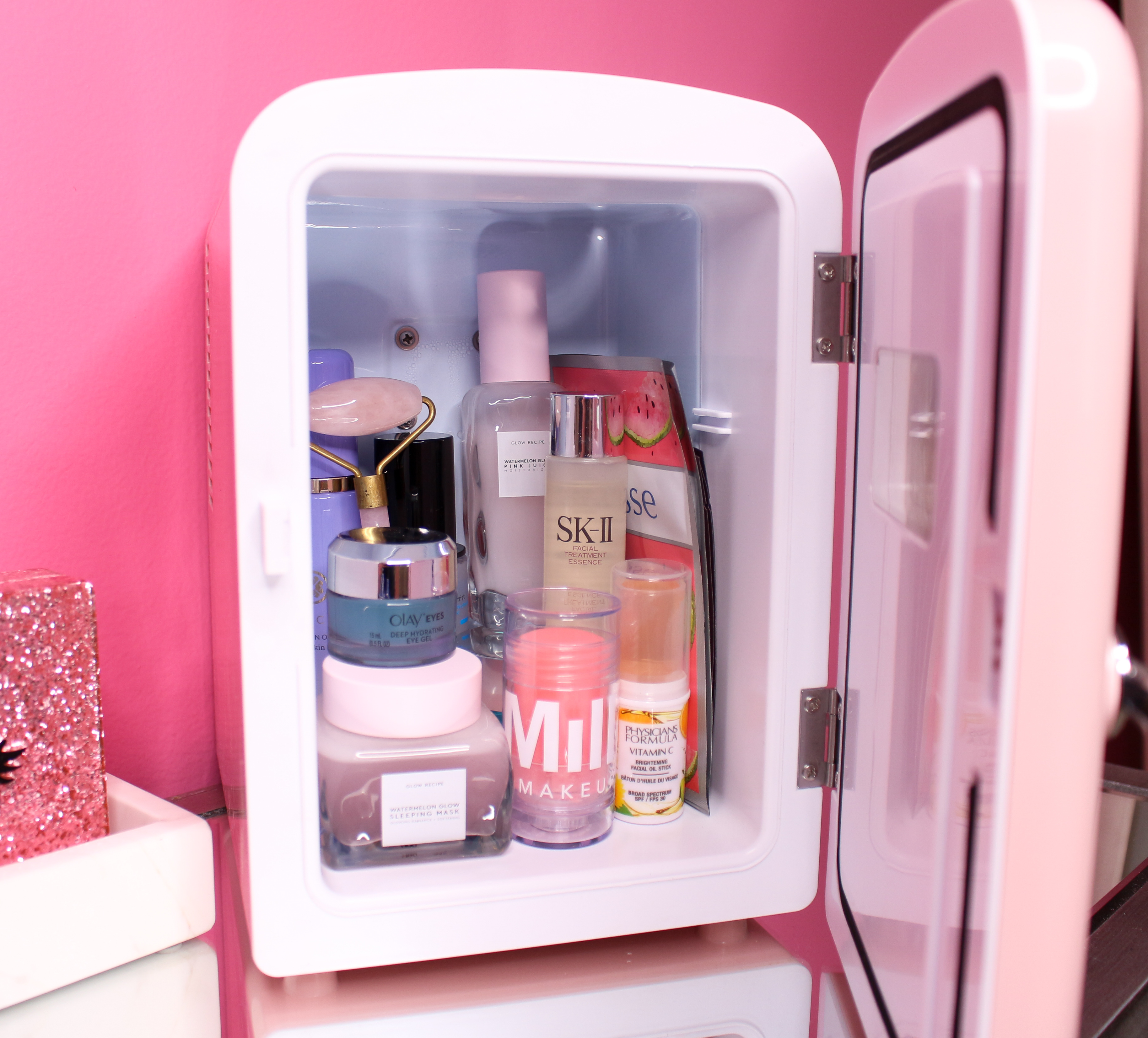 Surprising Whats In My Skincare Fridge Skincare Fridge Tour Love Home Interior And Landscaping Transignezvosmurscom